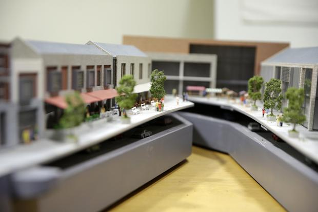 The scale model of the planned Florentine Centre at the civic offices