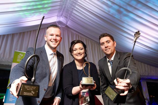 Wicklow winning entrepreneurs Maurice Sheehy and Kate Dempsey pictured with Killkenny's Eoin Treacy (right) at the Regional Final of Ireland's Best Young Entrepreneur competition in Tinakilly