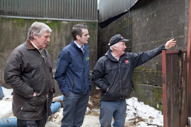 Farmer Danny Summers (right) shows Wicklow IFA Chairman Chris Hill and IFA President Joe Healy damage caused to one of his sheds due to the snow
