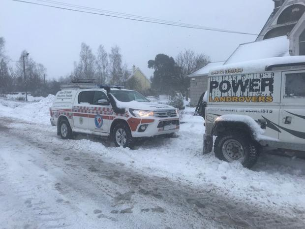 One of the Glen of Imaal Mountain Rescue vehicles in the snow