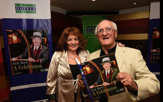 Frank Corr with his wife Irene at the launch of his new book, 'Irish Hotels – A Celebration'. Photo: Don MacMonagle