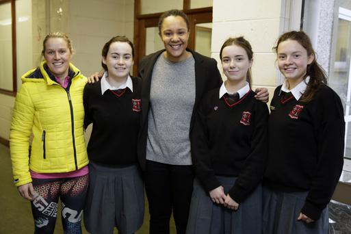 Former Irish Rugby International Sophie Spence with Eva Moore, Hannah Doyle and Eimear Martin, sports prefect.