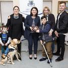 Most Colourful Entry: Cllr Jennifer Whitmore presenting the award to Charlie Galligan (and Iona the dog), Rebecca Galligan, Aidan Foran, Aisling Foran and Odhran Wall from the Triple A Alliance