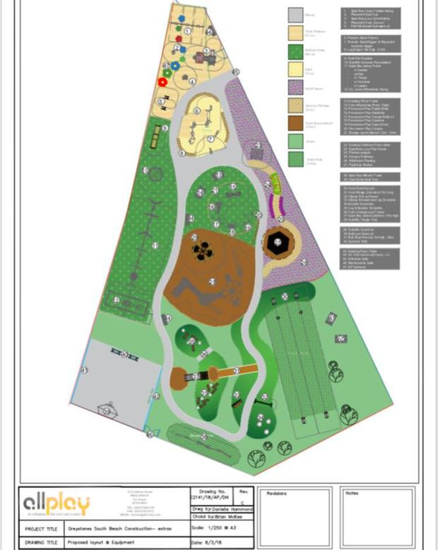 The plan for the improved playground at south beach in Greystones.