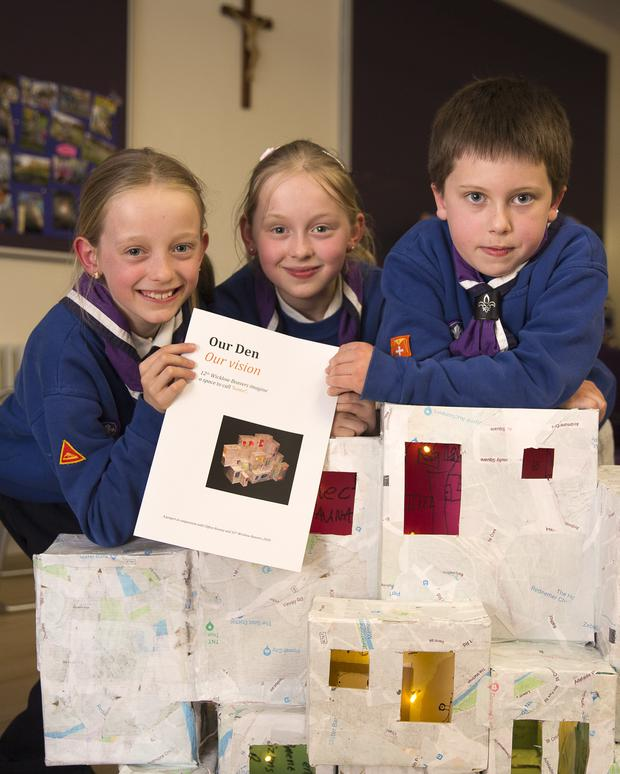 Beavers Aisling and Aoife Haines and Elijah Rooney with their plan.