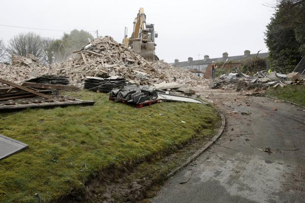 The rubble from St Paul's Lodge on Friday