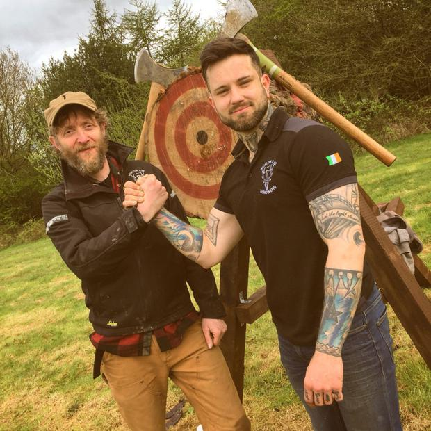 Axe Throwing Champion Heath Dawson (left) and bronze medallist Anthony Clavin, who are both members of Wicklow Axe Throwers.