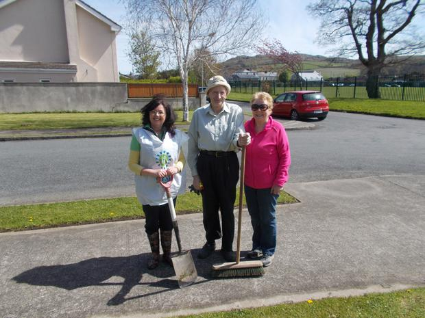 Patricia O'Leary, Gerry Callaghan and Eileen McNulty during the clean-up.