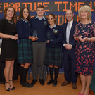 Sixth year head Margaret McCormack with Aoife Cullinan, Brian Short and Molly Hayes who received their Gradam Speisialta from principal Shane Eivers and deputy principal Carol Buckley