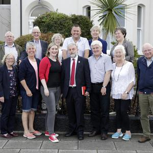 Joe O'Mahony, Con Salmon, Anne Quinn, Paul O'Brien, Liz McManus, Aoife Caomhanach. Margaret Salmon, Liz Ferris, Robyn Ferris, John Kenna, Anne Ferris and Kevin Duffy with Jack O'Connor at the official opening of his office on the seafront in Bray.