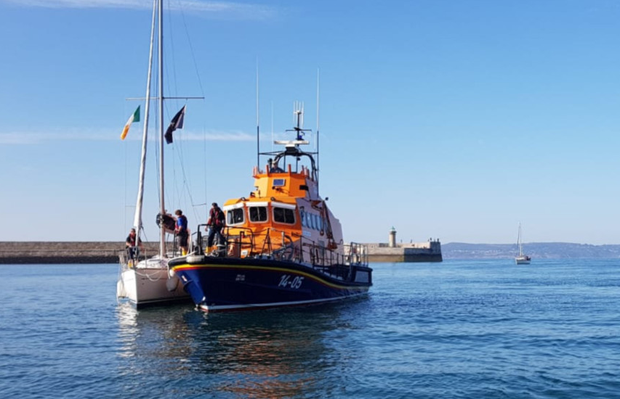 Dun Loaghaire RNLI crew rescues a yacht off Bray Head after its engine failed