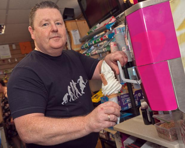 Colm Kavanagh prepares one of his famous 99s at his shop on the Wexford Road in Arklow