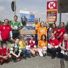 Wicklow's Gary Messett, who is the ambassador for the Wicklow Hospic Select team, with the Wicklow Hospice team and supporters and staff of Circle K in Kilmacanogue.