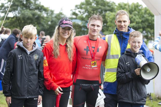 King of Greystones Alex Gray (centre) with Nicko Stewart, Jane Glynn, Adam Kelly and Conor Glynn at the King of Greystones Triathlon on Sunday. Photos: Barbara Flynn