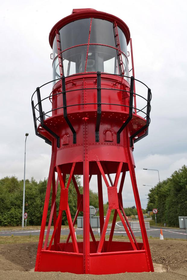 The lantern from the former lightship 'Alf Skua' in its new home on the roundabout at junction 20 of the M11