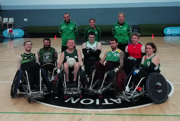 (Back, from left) Head coach Stuart Mclindon, Eleanor Lucey, assistant coach and team masseuse, and Lynn Cromie, team manager and doctor, with team members (front) Will Doggart, Alan Dineen, John McCarthy, Thomas Moylan, Shane Delaney, Michael O'Hanlon and Ciara Staunton (absent from photo are team mechanic Michael Kearney and Stephen Aylmer)