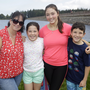 Karen, Sophie, Holly and Sean Leach watching the canoe races on the Vartry Reservoir on Saturday afternoon