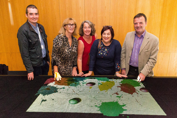 Wicklow County Council staff members Colin Heslin, Claire Fullam, Richella Wood, Margaret Birchall and County Librarian Brendan Martin at the launch of a dementia table in Dun Laoghaire recently.
