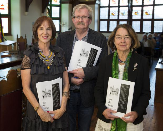 Deirdre Fitzgerald, Michael O'Reilly (editor) and Carmen Cullen launching the new Bray Arts Journal