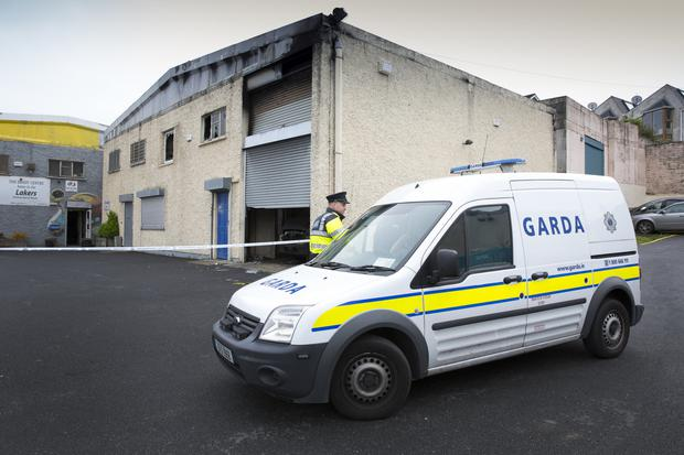 Gardaí at the Brady Centre following the fire in the early hours of Friday