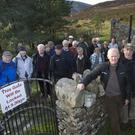 Walkers protest at the Lugalla Estate entrance gate, which will be locked from 5.30 p.m. each evening.