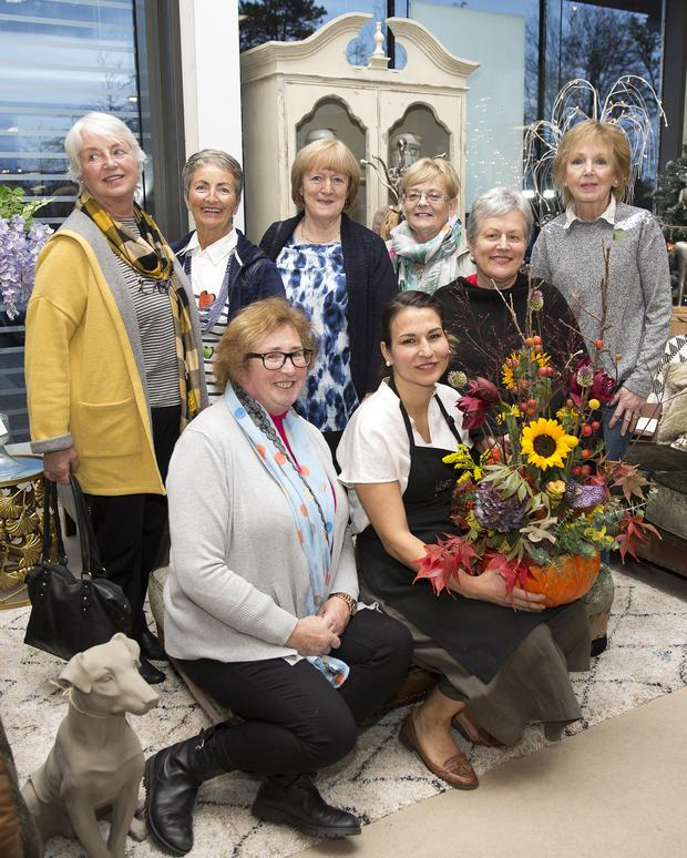 Members of Bray Flower Club at the free Halloween floral demonstration at Flanagan Kerins, Bray Retail Park: (back,from left) Vera Huet, Madeleine Kennedy, Anne McDonald, Fidelma Nolan, Rose O'Sullivan, Geraldine Cleary, (front) Noreen Brennan and local floral designer Adrienn Eber of Floral Art Greystones, who shared her expertise. Photo: Barbara Flynn