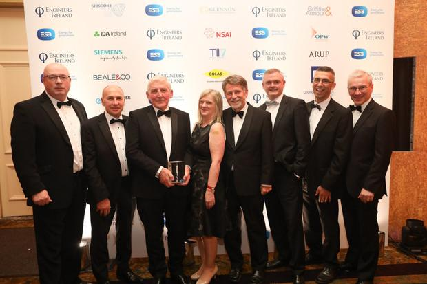 Bob Wright, TKFM Ltd, representing award sponsors Colas Bitumen Emulsion, presenting the award to Cllr Pat Vance, cathaoirleach of Wicklow County Council and Bray Municipal District; Triona Irving, Wicklow County Council; Des O'Brien, River Dargle Flood Defence Steering Group; David Forde, District Administrator for Bray; Marc Devereaux, Wicklow County Council and Liam Bourke, District Engineer for Bray