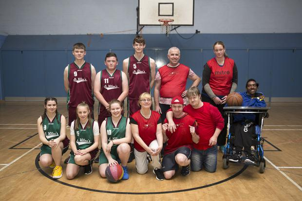 Back, (from left) Michael Gillman, Dylan O'Toole, Sam Byrne, Keith Meyers, Katie Jo Johnson, (front) Paris Flynn, Nicole Keogh, Melinda Szabo, Jane Donnelly, Gary Burton, Alasdair Quinn and ref Billy Nsabimana.