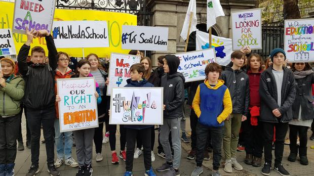 Pupils protesting outside Dáil Eireann