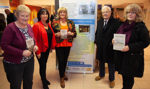Cllr Mary Kavanagh, Lorraine Newsome, Siobhan Curran, John Giles,trustee of the Sunbeam House Trust, and Delwen Giles, Sunbeam House Trust, at the opening of Our Wicklow Women at County Buildings, Wicklow town. Photos: Paul Messitt