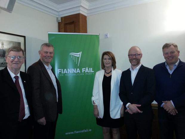 Donie Cassidy, Gerry Walsh, Elaine Willis, Stephen Donnelly TD and Paul McKnight at the Fianna Fáil selection convention