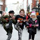 Twins Mackenzie and Georgia Dixon from the Harbour Ukulele Group, Bray, and Chloe Foster from Greystones at the launch