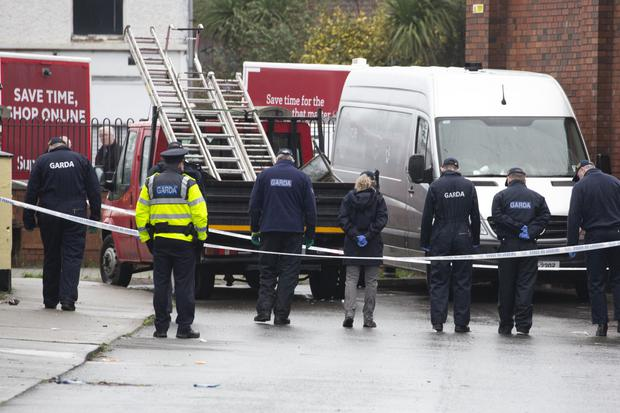 Gardaí conducting a search at the scene on Thursday morning