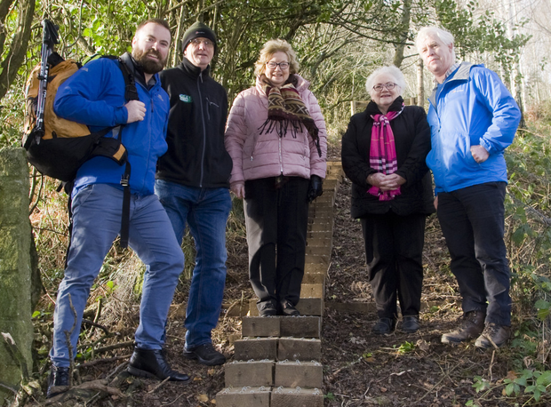 Bryan Fennell, Rural Recreation Officer with County Wicklow Partnership, Robert Brandon, chairman of Mountain Meitheal,Helen McDonald, Madge Kenny and Hugh Coogan at the new section of the Wicklow Way, between Tinahely and Crossbridge