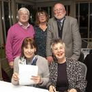 (Back, from left) Kieran Griffin, Brigid Murtagh, Michael Sheridan, (front) Alice Lysaght and Patricia Davidson at the Bray Stroke Club table quiz in the Martello. Photos by Barbara Flynn