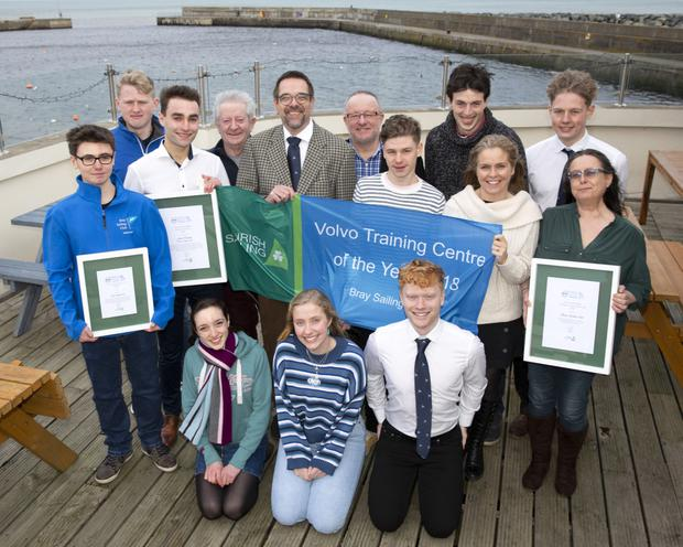 Members of Bray Sailing Club celebrate winning the Volvo Irish Sailing Training Centre of the Year 2018 and head instructor Jack Hannon winning the inclusion award. Back: Alex Connolly, Adam Walsh, Jack Hannon, Flor O'Driscoll, Commodore Boris Fennema, Mark Henderson, Rupert Zarka, Seán Hayes, Leonie Khan, Ian Walsh and Fiona Cassidy. Front: Jessie Dingle, Emma Groves and Niall Groves
