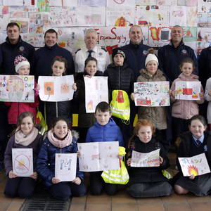 Pupils from Bray, Enniskerry and Kilmacanogue with Fire Chief Aidan Dempsey and Bray Firemen Tony Horan, Mihai Condrea, Kevin Loughran, JJ Earls, Dave Stewart, Ross Lally and Patrick Kearns