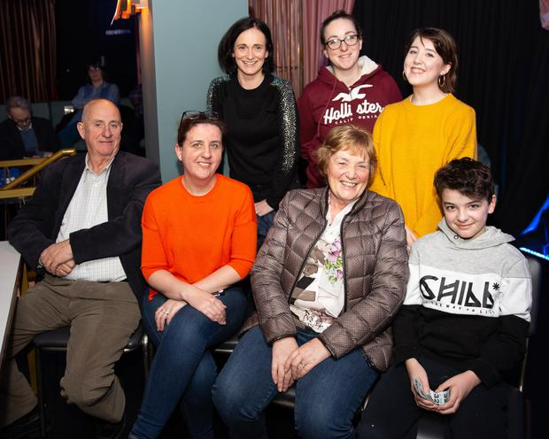 The Lawlors at Kilmac Youth Drama's production of'Soldier, Smoker, Lipstick, Joker' atthe Whale Theatre: (back,from left) Pamela, Nicola, Eamhain, (front) Tony,Antonia, Lena and Daniel