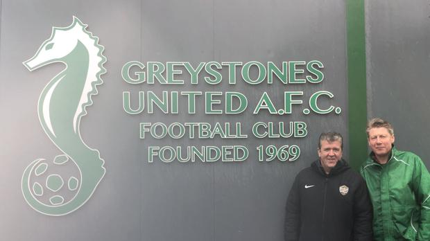 Nicky McManus and Rod O'Shea, members of the Greystones United AFC fundraising committee