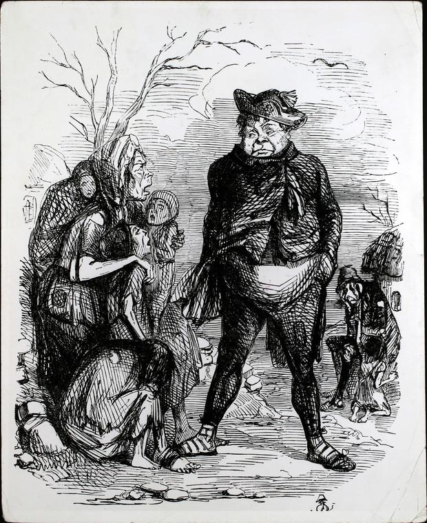 Rent V potatoes – The Irish Jeremy Riddler. This cartoon, appearing November 15, 1845, was drawn by John Leech. From the Hulton archive/Getty images