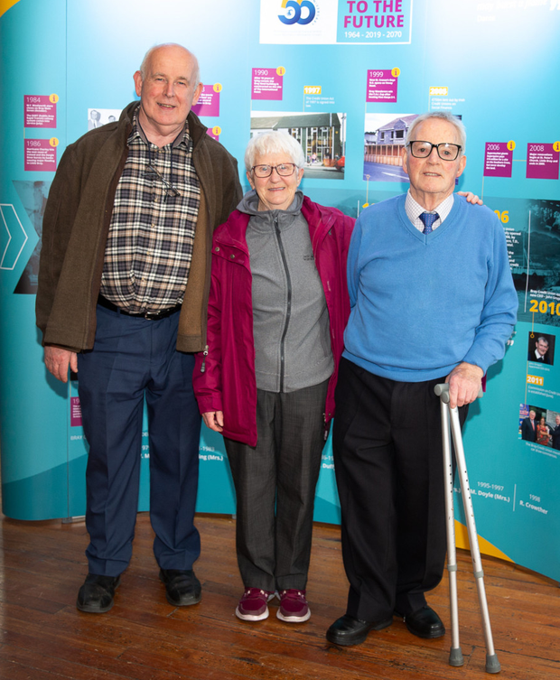 Chairman Dan Quill with Rosaleen and Jim Flynn at the Bray Credit Union 55 year anniversary exhibition at Bray Town Hall