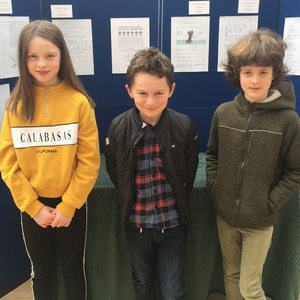 Ruairí Glennon from Scoil Caomhín Naofa in Hollywood (centre) with Mia Whearity of St Colmcilles SNS, in Knocklyon (left) and Thomas Joseph Olwill from Dublin 7 Educate Together National School (right) at the prize-giving ceremony at the Pearse Museum