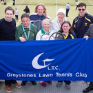 Minister Simon Harris with Conor Woods, Brian Kennedy, Kartsten Hokamp, Nadine Hennessy, Diane Cahill, Marian O'Rourke, Art Oakes and chairperson Paul McKnight at the Greystones Tennis Club open day. Photo: Barbara Flynn