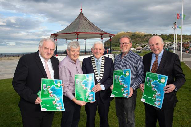 Eugene Finnegan, Chairperson of Bray Tourism, Joe Maguire of Bray Tourism and the Camino Society Ireland, Cllr Pat Vance, Cathaoirleach of Wicklow County Council; and Jim McNicholas and Turlough O'Donnell (chairman) from the Camino Society Ireland launching the Bray Celtic Camino