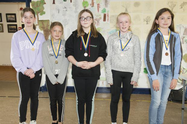 Under 14 Girls Art: Mis McGrath, Lakeside (1st), Mary McElhinney, Ashford (2nd), Millie Byrne, Rathdrum (3rd), and Jessica Healy and Emia Keenan, Aughrim (4th)