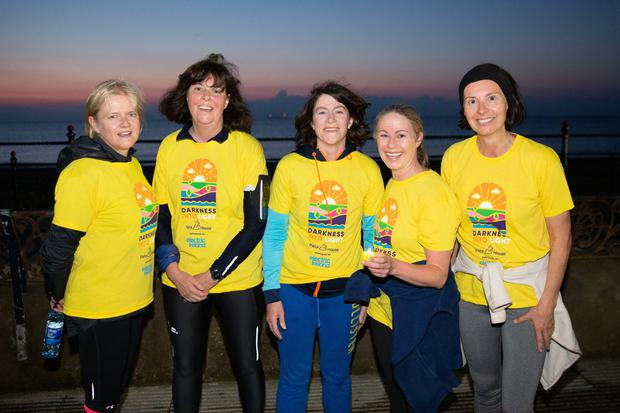 Janet McMahon, Suzanne Nicell, Denise O'Leary, Lara Dunlea and Aideen Cardiff at Darkness Into Light in Bray. Photos: Barbara Flynn