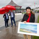 John Duggan from The Martello, Bray Municipal District Administrator David Forde and artist Niki Purcell calling on local people to sign up to the the Bray Seafront Art and Photography Exhibiton.