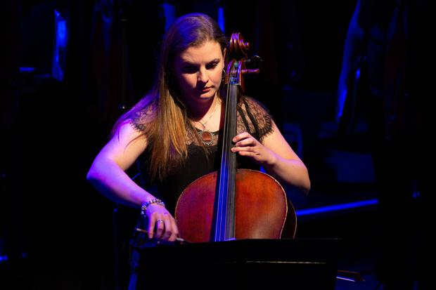 Guest artist Emilie Sheehy plays the cello