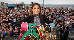 Katie Taylor at her homecoming in Bray after being crowned the undisputed lightweight champion of the world