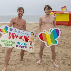 Rose of Tralee escort JJ Byrne and Martin Power getting ready for the male-only Dip in the Nip in aid of Wicklow Hospice Foundation on September 15